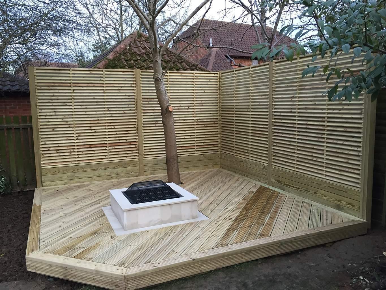 Timber Decking Bespoke Firepit Willen Milton Keynes Master Landscapes